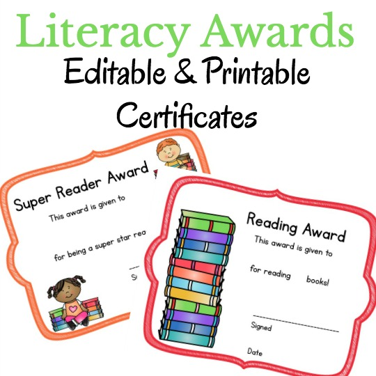 Editable and printable reading awards!