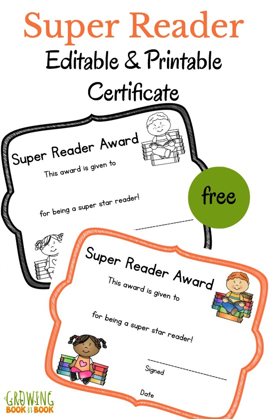 Literacy printable certificates that you can edit super reader printable certificate yadclub Choice Image