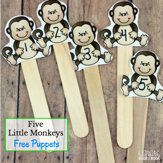 Five Little Monkeys Jumping on the Bed activities and puppets