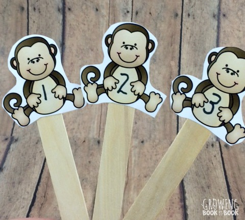5 Little Monkey Puppets on craft sticks