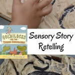 Help kids work on retelling a story to build comprehension after reading Goldilocks and the Three Dinosaurs. This hands-on sensory activity is great for kids who need to move as they process.