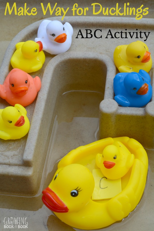 The beloved classic, Make Way for Ducklings, is celebrating 75 years in print. We have a water play ABC activity to help kids match lowercase and uppercase letters. Kids will also work on letter sounds. A great preschool activity for sensory water play table.