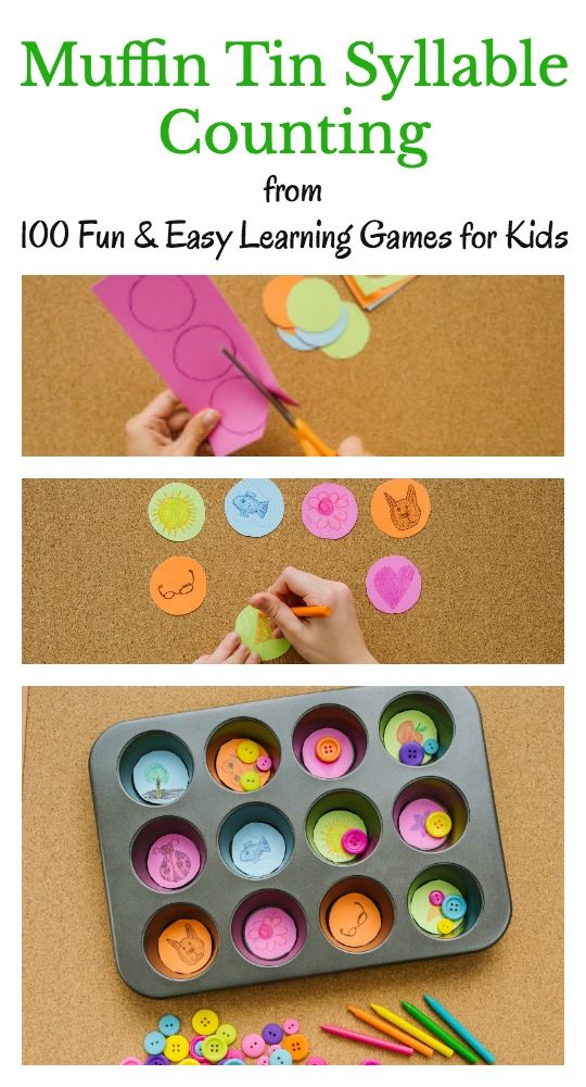 Muffin Tin Syllable Counting is a hands-on literacy activity for kids. It's just one of 100 ideas you will in 100 Fun & Easy Learning Games for Kids.
