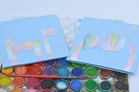 making rainbow fish note cards