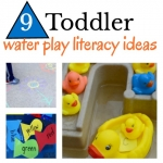 Playful toddler activities that all involve water play. Through play, toddlers will build literacy skills such as alphabet awareness, fine motor skills, and phonological awareness.