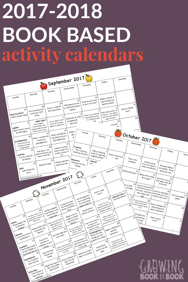 Calendar Book 2018 : Book based activity calendars