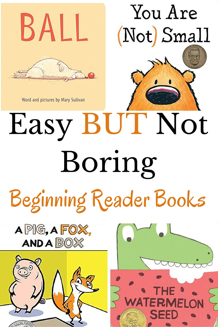 Check out these easy BUT not boring books perfect for beginning readers. Each book is leveled so you know which books are the easiest and which are a bit harder.