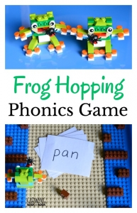 Grab the LEGO and build your frogs and game board. Then, play this phonics game to work on blending words or adapt for younger kids to work on letter identification and letter sounds.