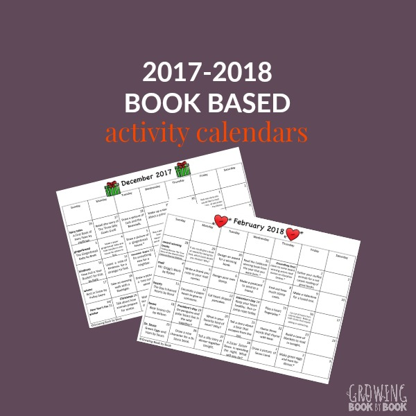 2017-2018 Book Based Activity Calendars