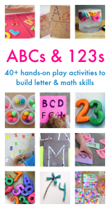 Playful and hands-on ideas for learning your ABCs and 123s from a terrific group of educators and moms from around the world. Get your copy today!