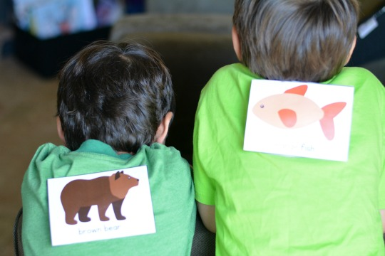 Attach the Brown Bear Brown Bear printable to the kids' backs