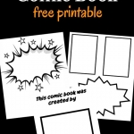 A free printable of comic book pages for kids to make their own comic book.