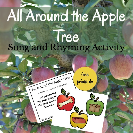 Planning an apple theme unit? Sing this All Around the Apple Tree song with kids and then complete a rhyming activity. Includes a free printable.