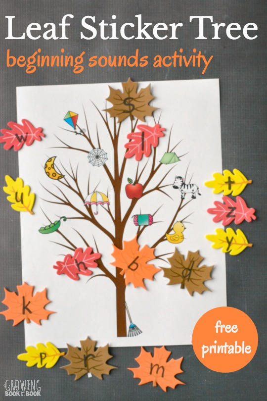 Beginning Sounds Activity Leaf Sticker Tree