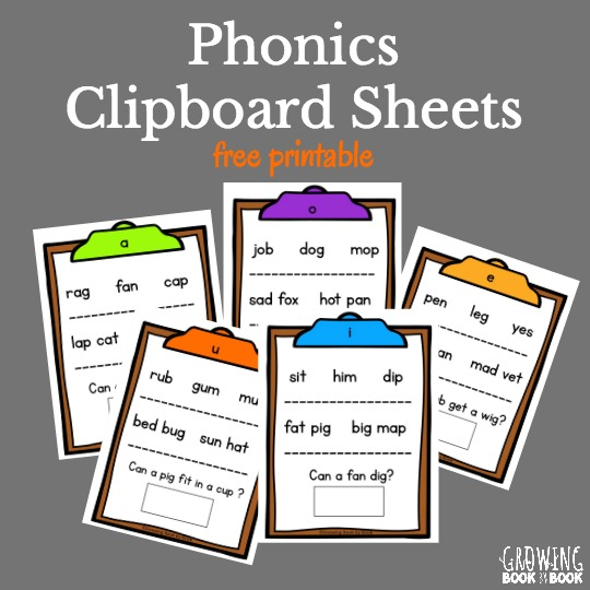 Help beginning readers decode words with these clipboard phonics sheets.