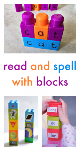 Read and spell with building activities including Lego, Duplo, and more.