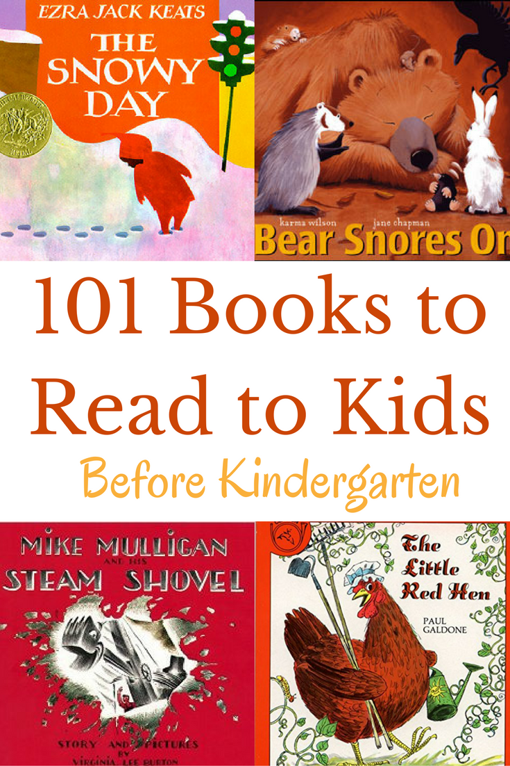 101 books that should be read to every child before kindergarten! An ultimate book list with a free printable book list to take to the library.