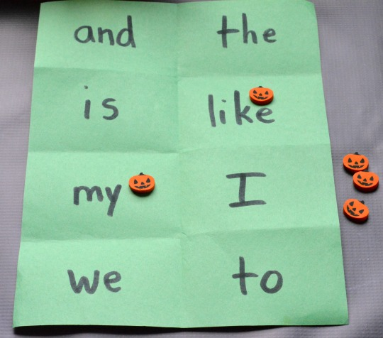 cover all sight word game for Halloween