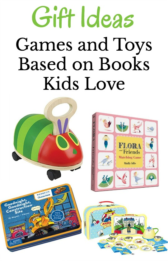 Games and toys that make the perfect gifts for kids. They are all based on books kids love.