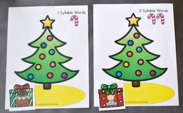 a christmas activity to work on syllable counting to build phonological awareness