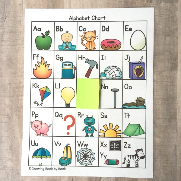 find the missing letter activity on an abc chart