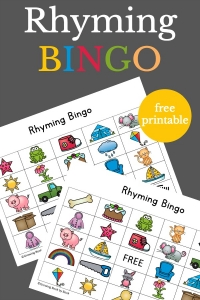 Playing Rhyming Bingo is a great way for kids to build phonological awareness skills.