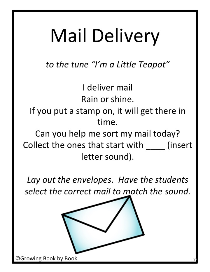 Mail Delivery song is one of 35 songs you will get to build literacy skills during circle time.