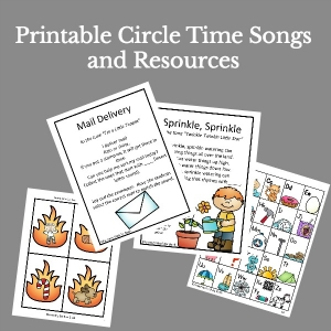 Lots of printable circle time songs and chants to use with toddlers, preschoolers and kindergarteners.