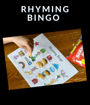 bingo game printable to work on rhyming words