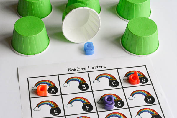 match the letters alphabet game with a rainbow theme