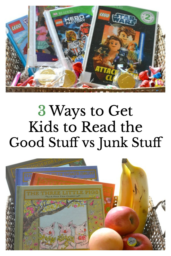 Tips for getting kids to read less junk and more of the good books that will stretch their imaginations, grow their vocabulary, and build a love of books and reading.
