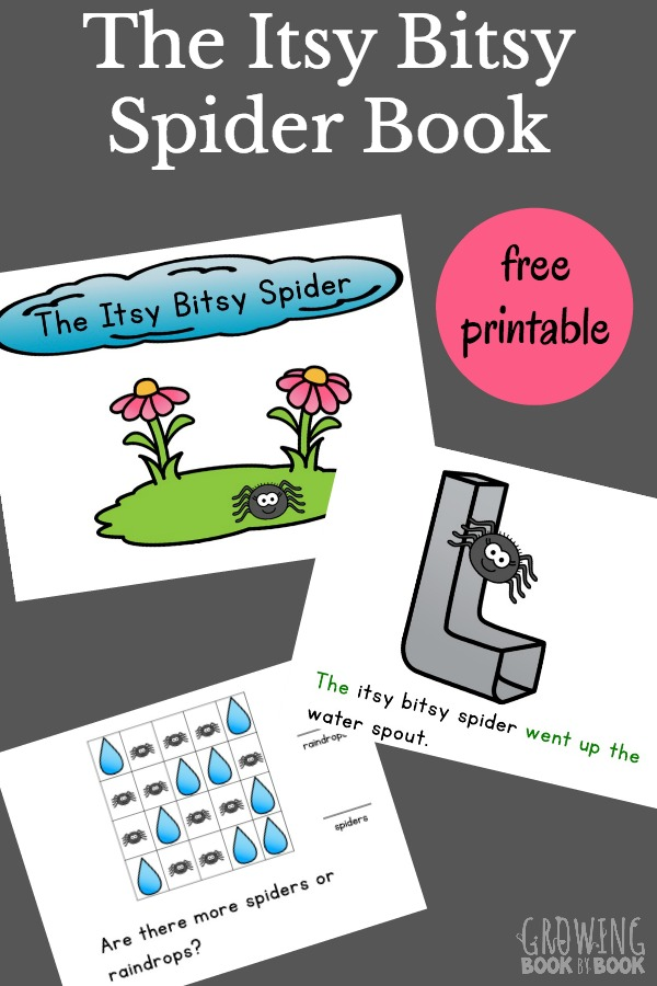 This Itsy Bitsy Spider Printable interactive book is great for toddlers, preschoolers, and new readers. A spider puppet is included for acting out the story and using as a reading pointer.