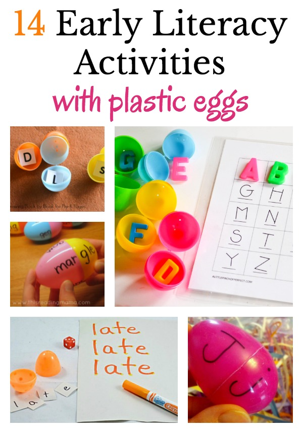 14 creative early literacy activities to do with plastic eggs. Ideas for alphabet play, sight words, word work, and reading.
