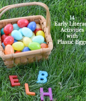 Early literacy ideas that involve plastic Easter eggs to build early learning reading skills.