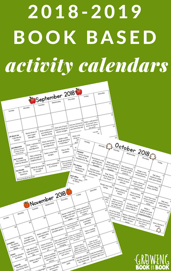 Book based activity calendars are perfect homework calendars for preschoolers through first grade.