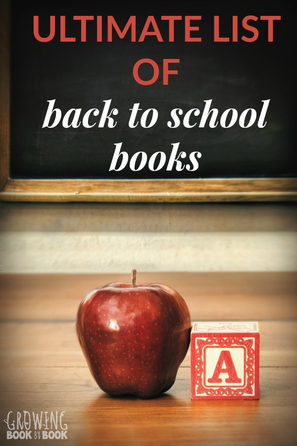 The BIG book list of back to school books including books for the first day of school, making friends, creating a community, month-by-month read alouds, fitting in, books about names, and more.