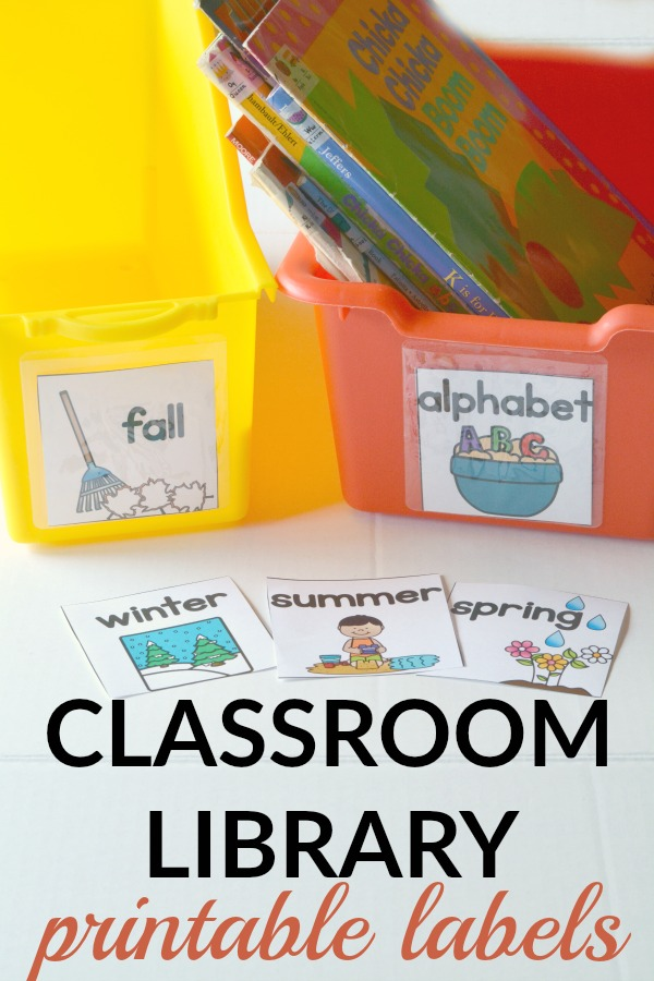 Classroom library labels are perfect for labeling book bins in an early childhood classroom. A great way to organize your library!