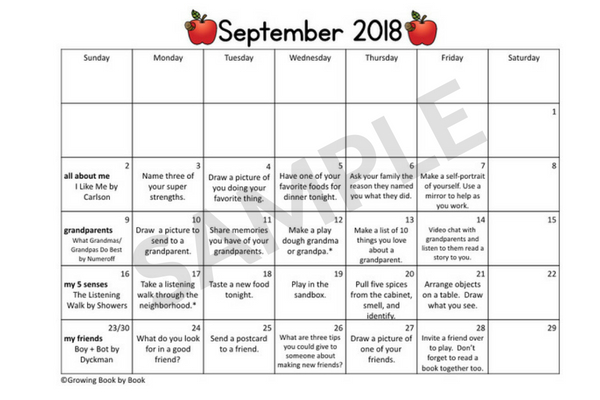 september homework calendar sample
