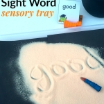 A Halloween sensory activity for kids to work on reading and writing sight words. Includes free printable word cards based on the kindergarten Dolch word list.