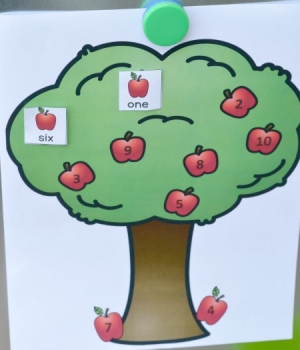 Ann apple tree number word matching game.