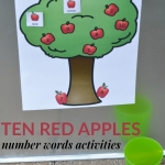 Enjoy Ten Red Apples by Pat Hutchins and then learn about numbers with these number words activities. Free printables included.