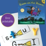 Work on letter sequencing and identification with this Room on the Broom sequencing activity for kids. #RoomontheBroom #booksforkids #alphabet