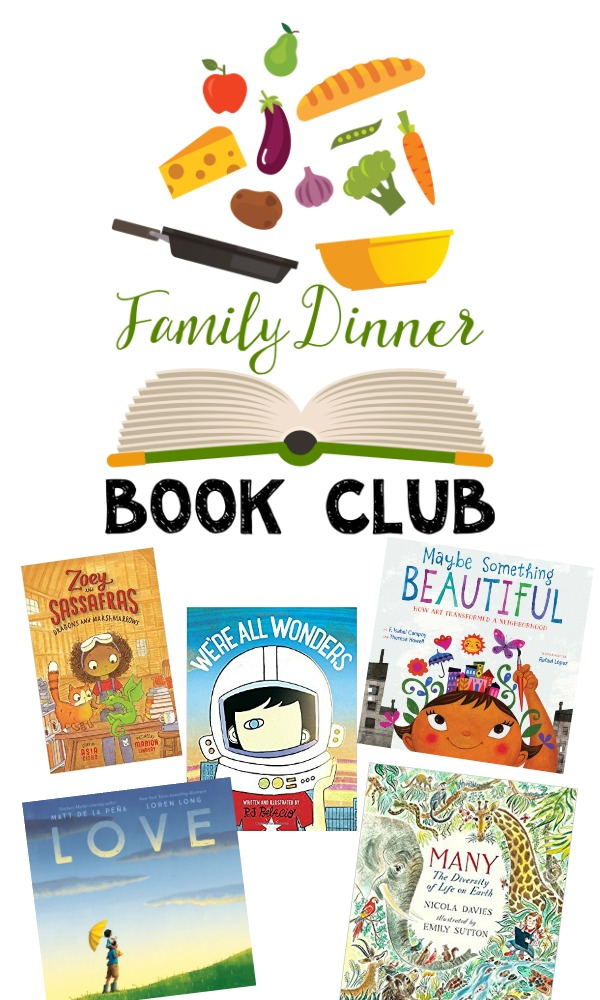 The 2018 Family Dinner Book Club lineup is full of books to build character strengths. #familydinner #charactereducation #booksforkids