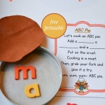 A Thanksgiving alphabet activity to work on letter identification with a fun pie theme. Even includes a free printable poem. #alphabetactivities #Thanksgiving