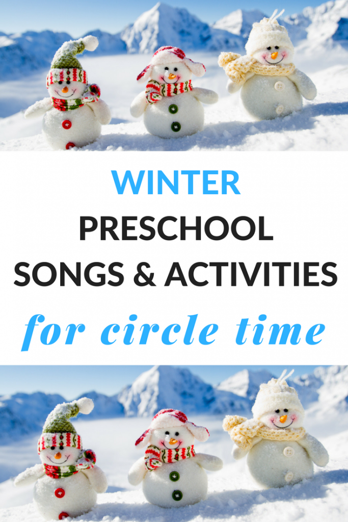 Winter preschool songs to use for circle time to build literacy skills.