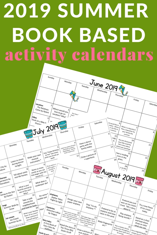 Summer Reading Idea: summer book based activity calendars full of book recommendations, literacy activities, and reading logs perfect for summer learning.