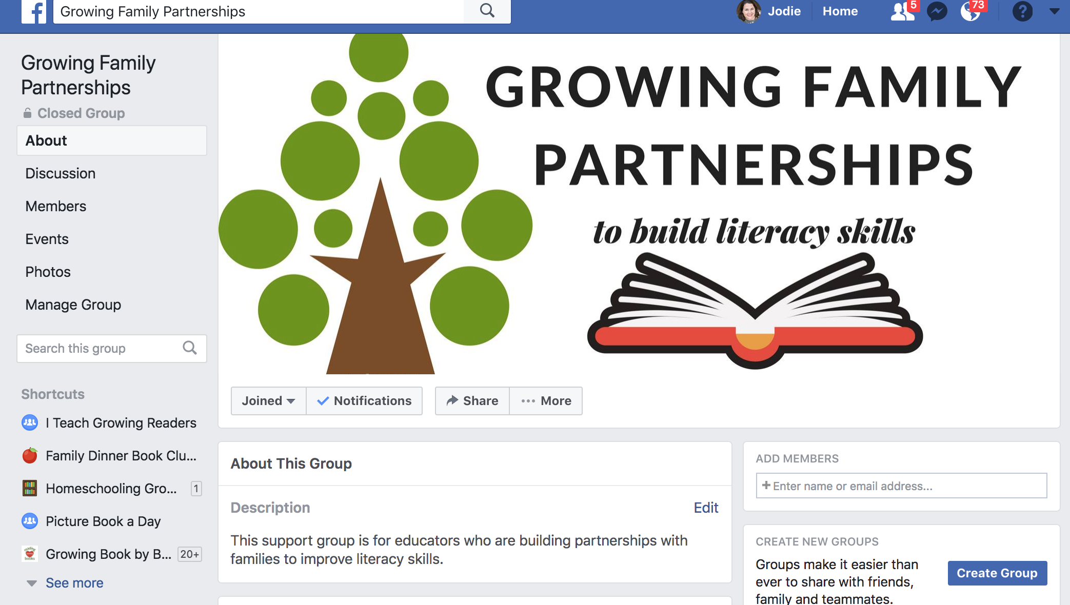 Facebook group to support nurturing family partnerships
