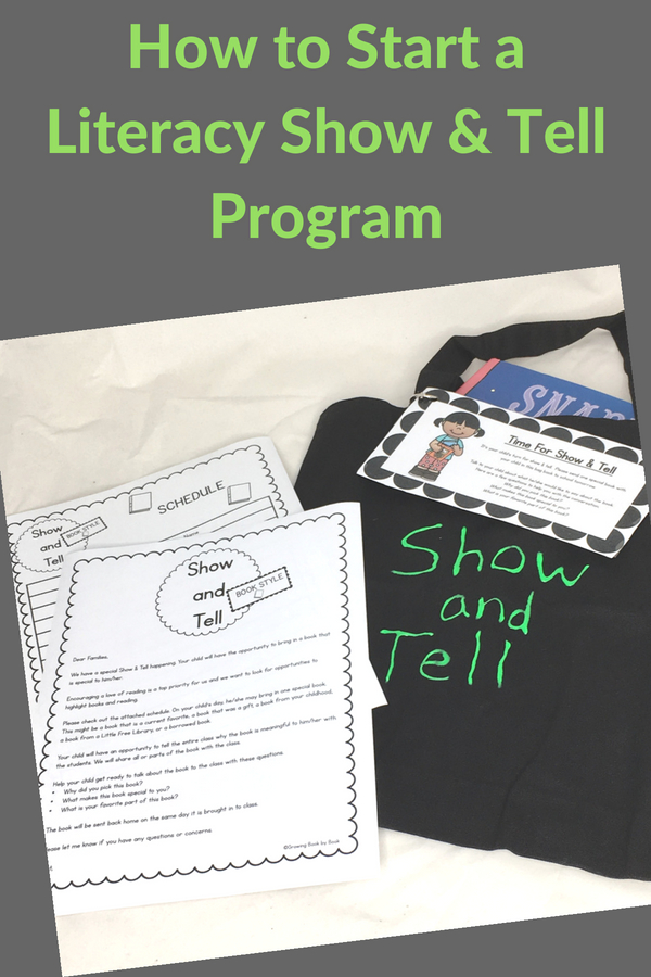 show and tell bag with printable resources