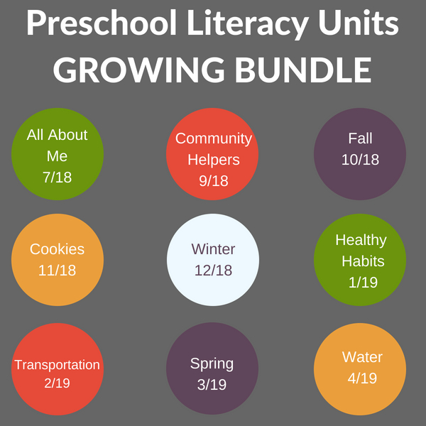 growing bundle of preschool units that are literacy rich