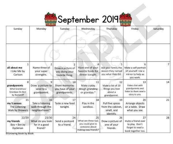 September book based calendar